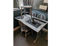 Grey shabby rectangle dining table, 4 chairs