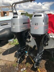 2 x mariner 60hp 4 stroke outboard engines