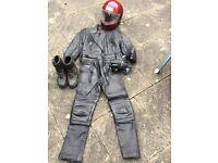 Leather Motorbike Clothing Ladies 10 & Shoei Helmet 53cm