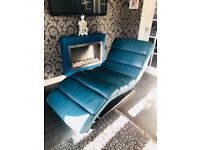 Chaise Lounge / Longue Italian Leather Teal