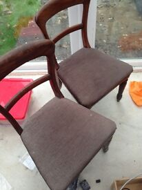 4 Antique brown good condition chairs
