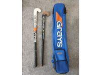 2x Hockey Sticks and Grays Hockey Bag