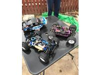 2 x Nitro rc cars working, complete and loads of spares to build a 3rd car