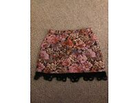 Topshop Petite Tapestry Effect Skirt Size 8