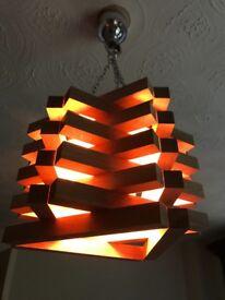 HANDMADE WOODEN CEILING LIGHT HANGING LIGHT FIXTURE PENDANT MODERN UNUSUAL ART