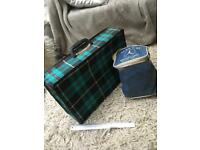 Vintage tartan suitcase and pump with bag