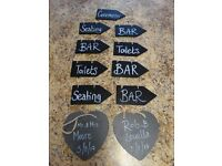 Wedding slate heart messages and direction signs for sale