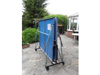 TABLE TENNIS TABLE for OUTDOORS. Blue top on galvanised steel frame. Belgium made Artengo