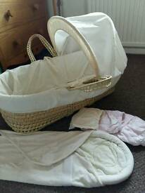 Moses basket with swaddling blanket and sheets included