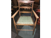 Very Nice Antique Oak Church/Chapel Elder's Chair with Green Upholstery