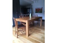 Solid oak dining table seats 8 people