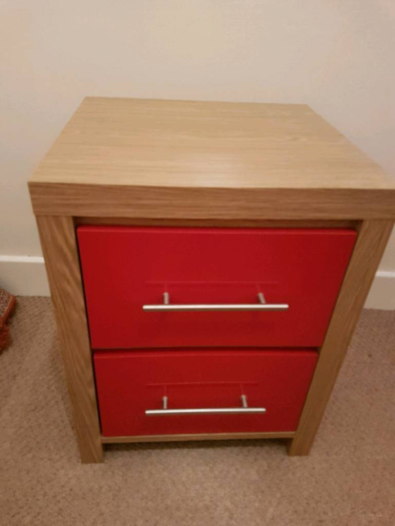 2 x bedside red drawers