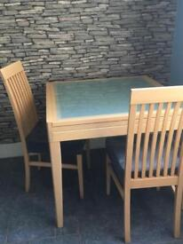 Glass extending table & 4 chairs