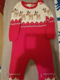 John Lewis Knitted Christmas Romper 3 to 6 months