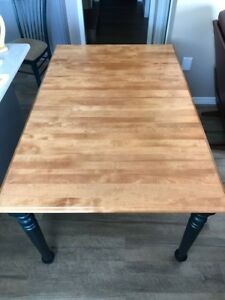 Wood Kitchen / Dining Table with chairs and leaf