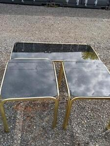 Brass and Smoked Glass Coffee Table and 2 Side Tables (Matching set of 3)  Oakville 905 510-8720