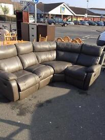 Dark Grey Leather Corner Sofa