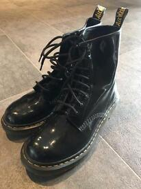 Black patent DMs - size 7 and 1/2 (Eur 41)