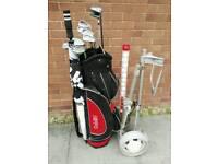 Full set of men's golf clubs, trolley etc