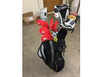 Full set of golf clubs with callaway RAZR X irons and Taylor made pro R11 driver