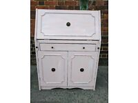 Vintage rustic slimline bureau /writing desk. Distressed calamine pink shabby chic. Local delivery.