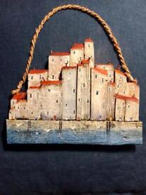 Cornish Cottages , Wooden Artwork,Handmade,'High Tide' by Kathy Clark