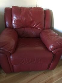 Red Leather Electric recliner sofa