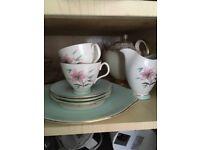 Royal Albert Elfin Bone china tea cups, milk server and serving plate