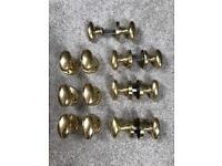 Brass oval Victorian door handles