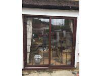 Patio door sliding , dark oak aluminium lead internal