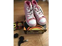 Lovely girls sparky pink and white genuine heeleys size uk 1!