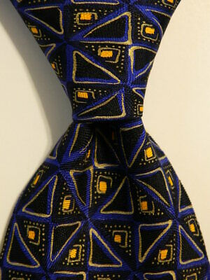 ALTEA Men's 100% Silk Necktie ITALY Designer Geometric Black/Blue/Yellow EUC