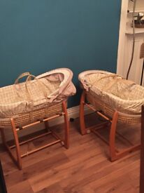 Mamas and Papas zambeezee wicker Moses baskets with rockable stand