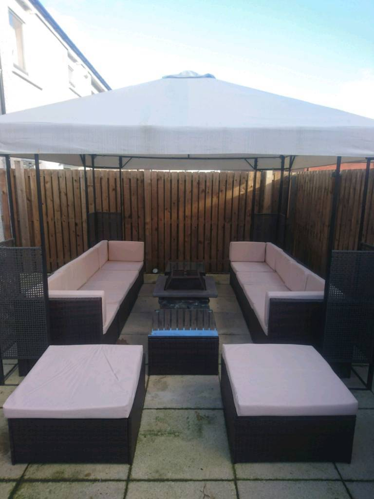 3m x 3m gazebo in rattan style with full set of garden furniture