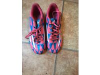 Pink and blue adidas. F5 Astro boots. Size 5