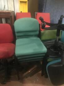 Green Stackable Chairs with metal frame