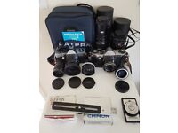 2 Praktica film cameras with M42 fit lenses ideal for photography students and collectors
