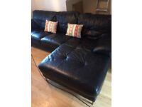 Leather corner sofa black dfs