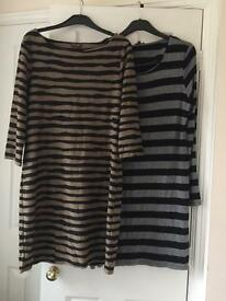 Two Phase Eight Ladies Striped Shift Dresses. Size 14/16.