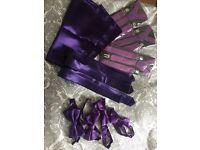 Boys 3-10 purple ties, hanki, braces and bow ties Pack of 3