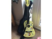 Spongebob junior classical guitar with case and bits