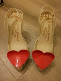 Great Condition - Vivienne Westwood Anglomania Melissa Heart Pearl Ivory Heels - Size 4