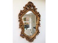 Gilt frame vintage Rococo mirror