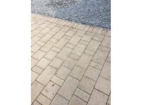 New Block paving, sandstone, 7 to 8 sq m. Large pile slabs. 2 sizes. 40 x 40 and 40 x 20 cms