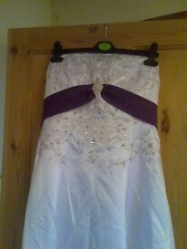 wedding dress white and purple