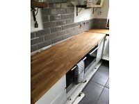 Solid oak wood worktop