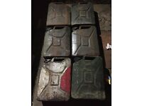 6 jerry fuel metal cans