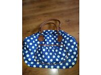 Navy/ white polka dot weekend bag
