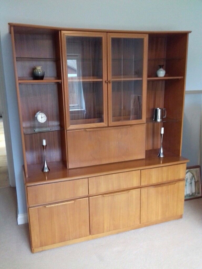 Solid Teak Cupboard Unit With Glass Display Shelves Glass Doors