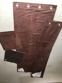 BROWN SUEDE EFFECT EYELET CURTAINS 90 ins LONG X 66 ins WIDE + CUSHION COVERS - EXCELLENT CONDITION